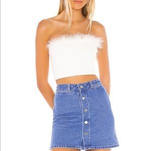 Super down feather tripped crop top